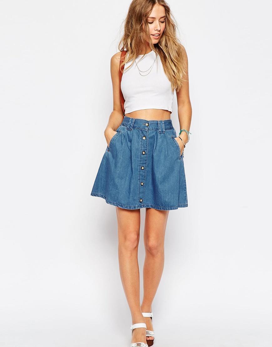 Джинсовая юбка с коротким топом