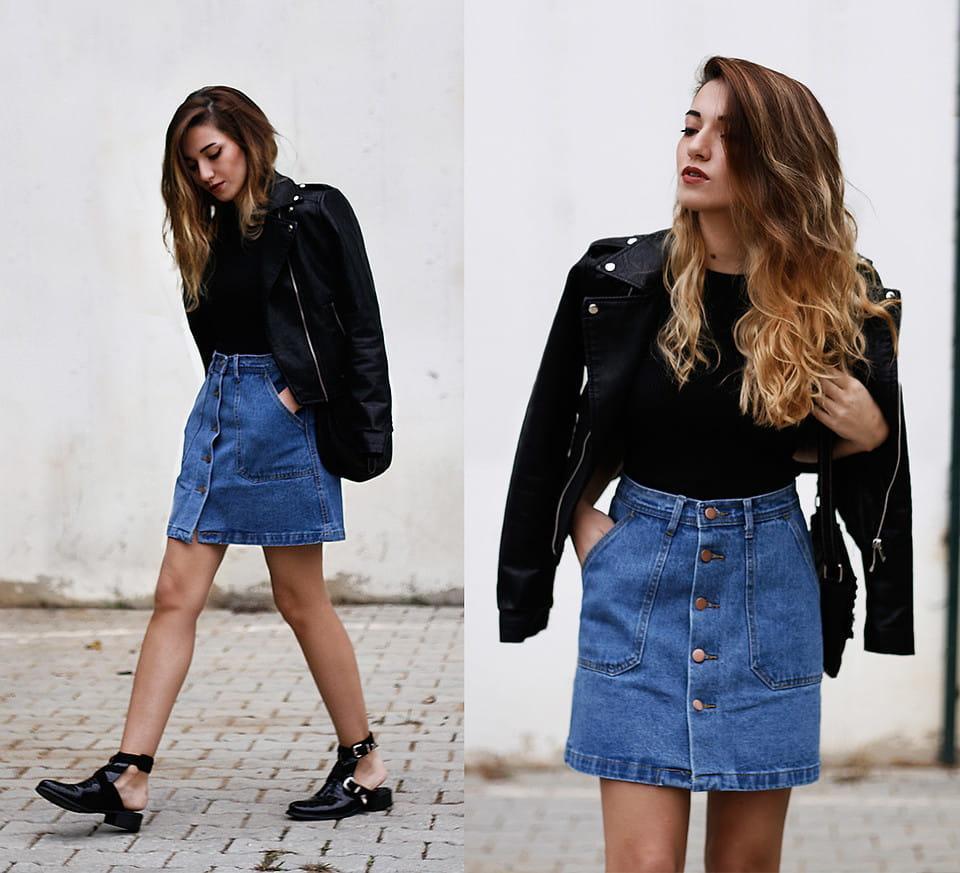 Джинсовая юбка и кожаная куртка