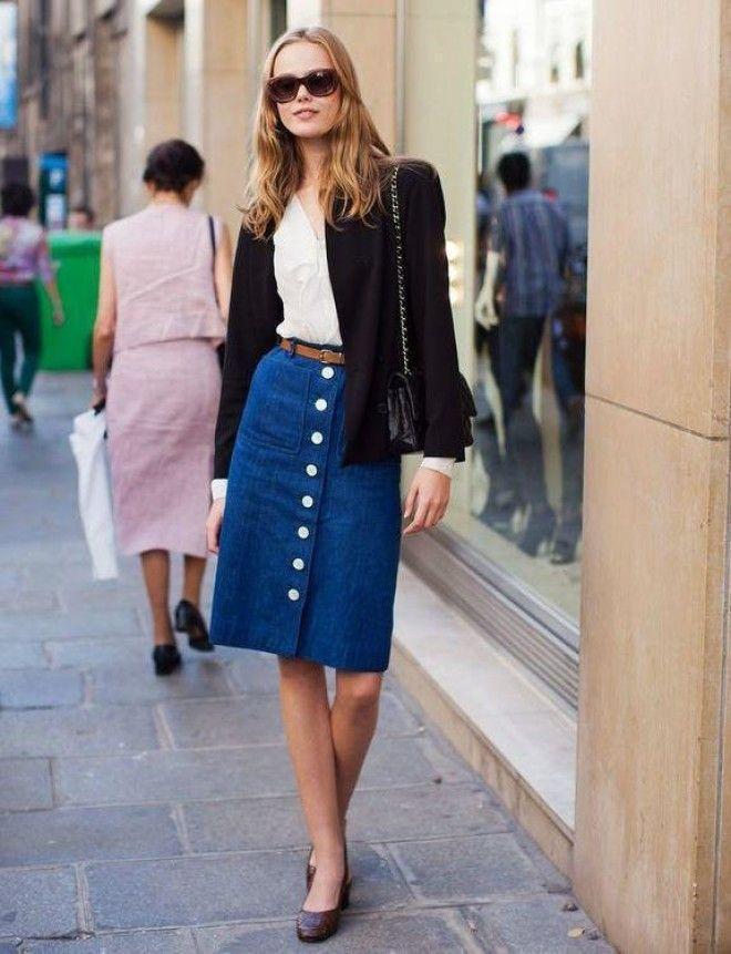 Джинсовая юбка с пиджаком