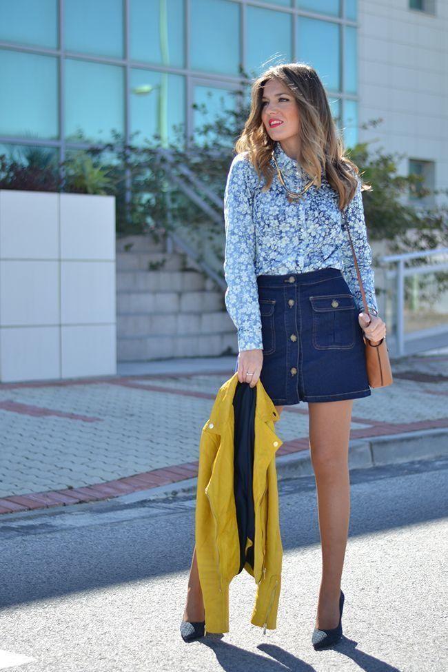 Джинсовая юбка и блузка