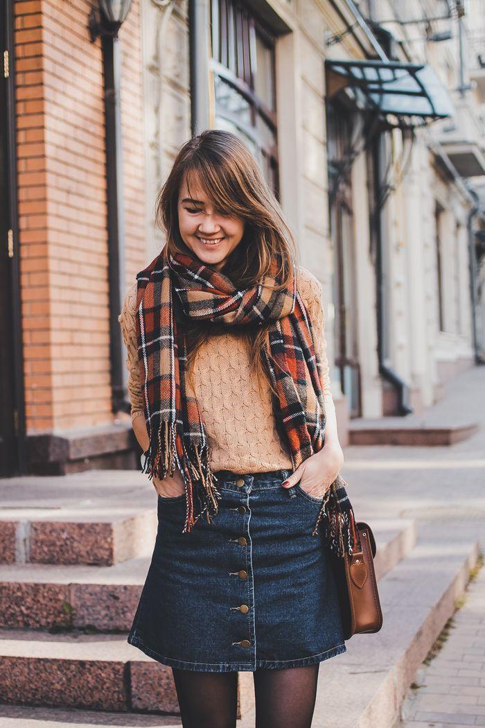 Свитер и джинсовая юбка