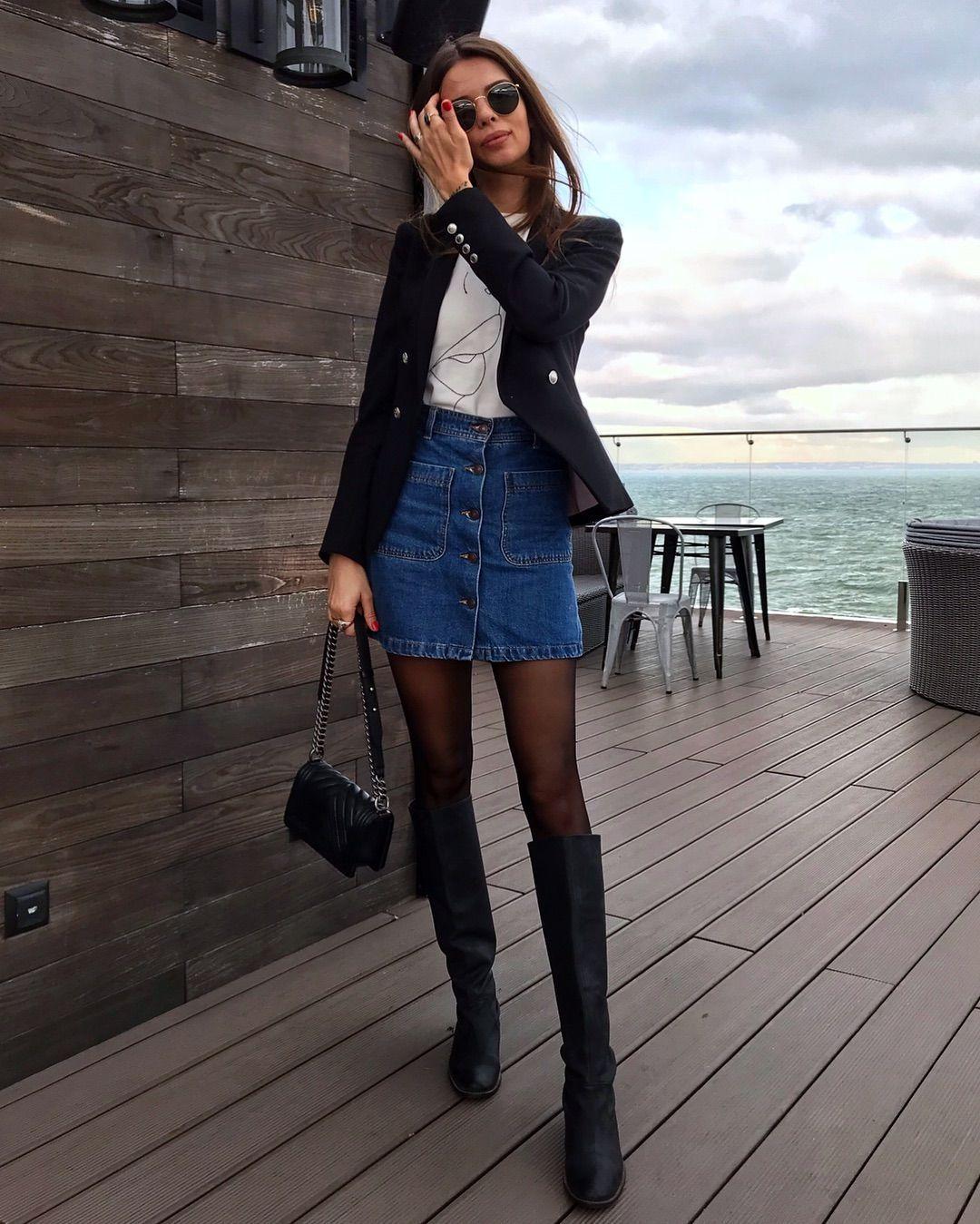 Джинсовая юбка с жакетом