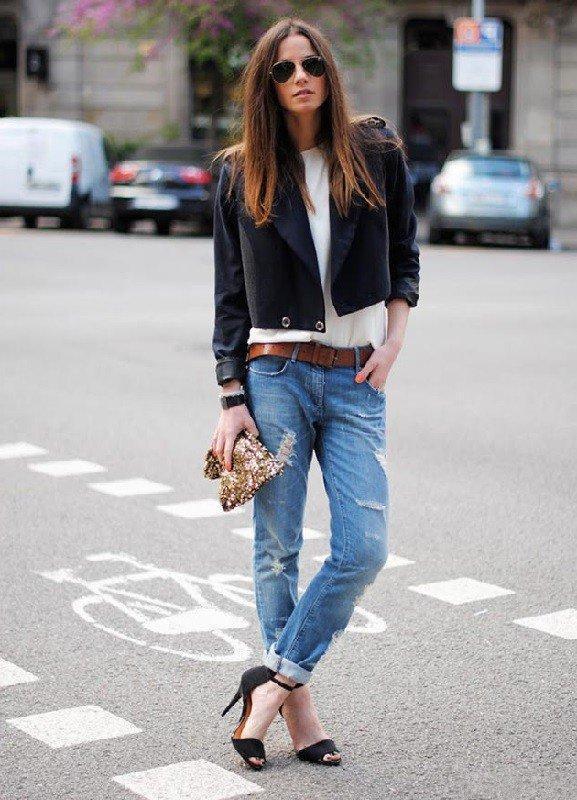 прямые джинсы с босоножками