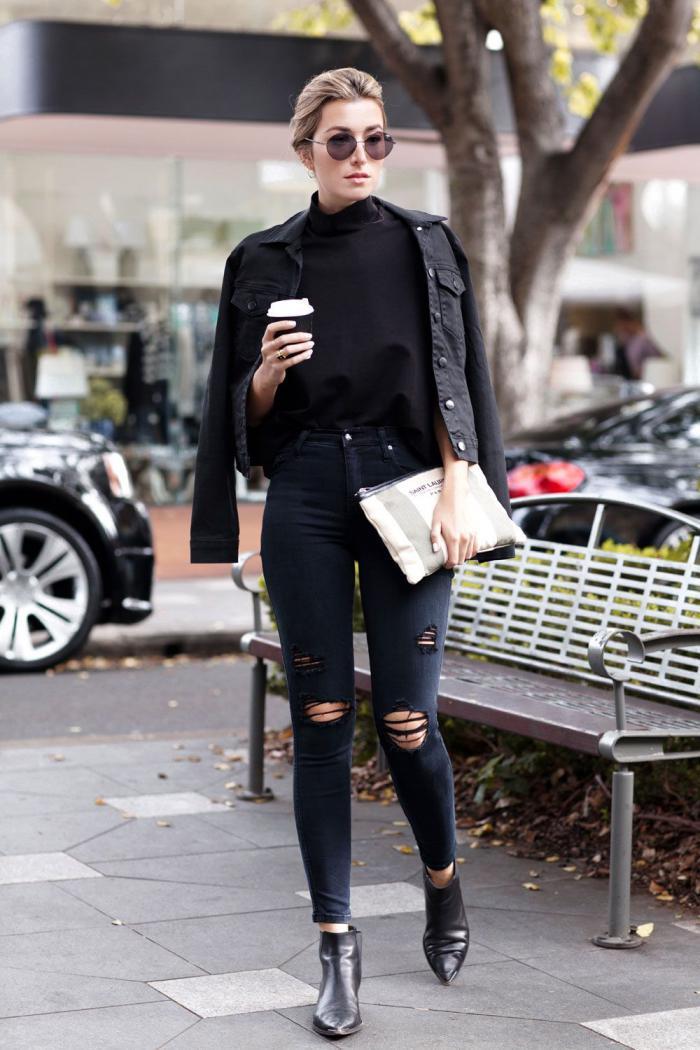 Черная джинсовка с брюками