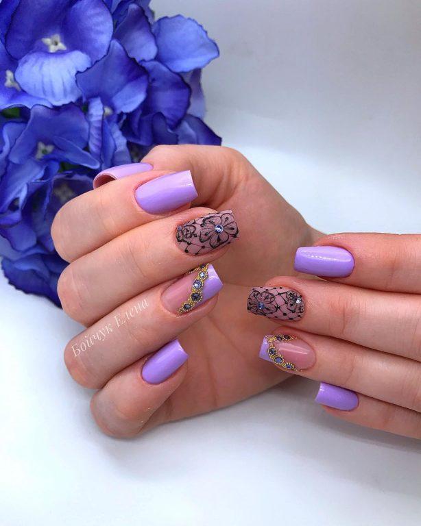 60 свежих идей сиреневого дизайна ногтей, которые напомнят о скорой весне