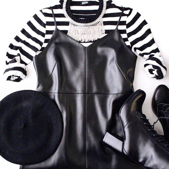С чем носить модный кожаный сарафан, чтобы выглядеть стильно, а не вульгарно