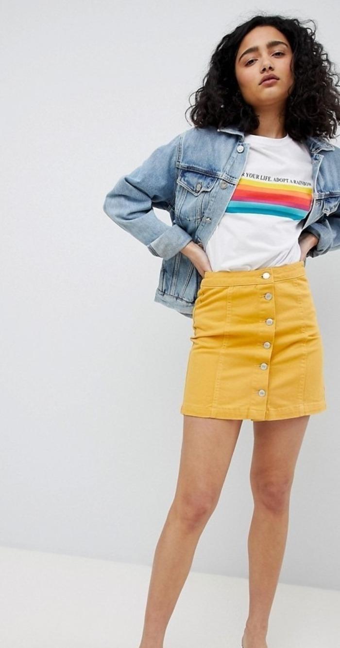 Желтая джинсовая юбка