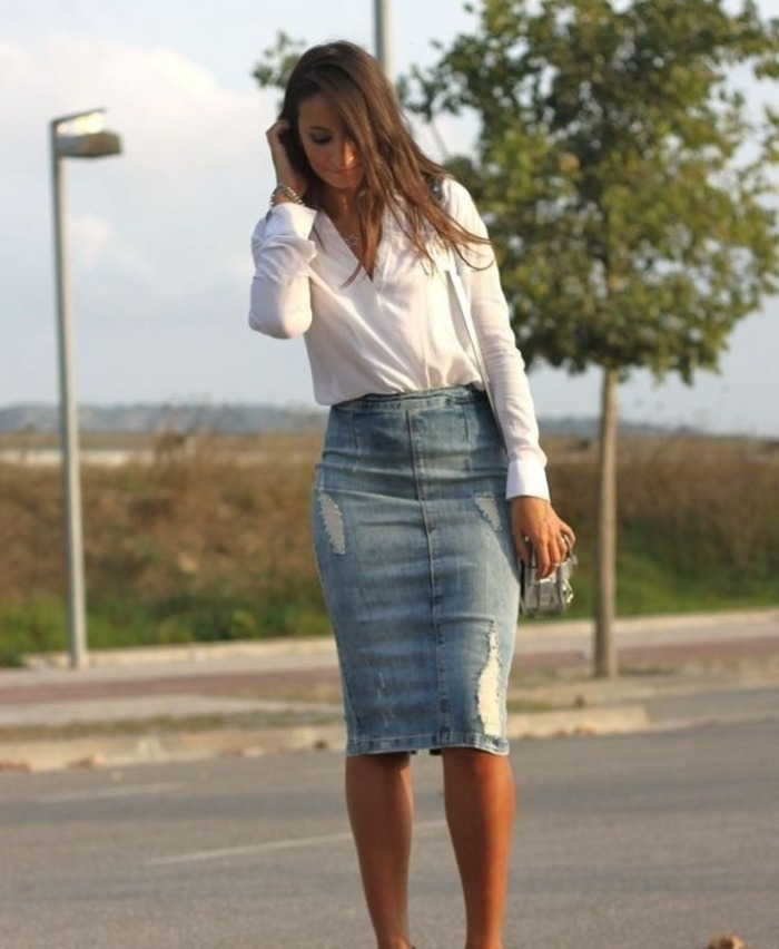 Джинсовая юбка с рубашкой