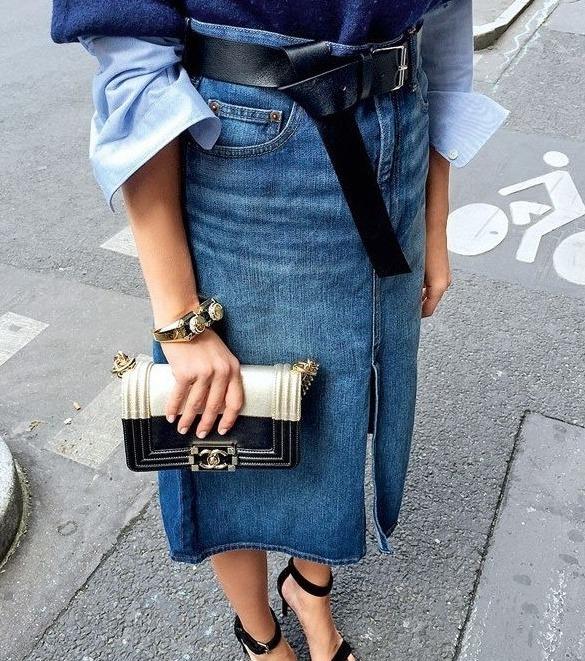 С чем носить джинсовую юбку-карандаш